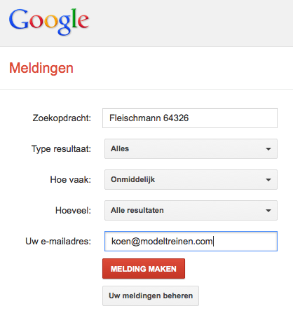 Modeltreinen kopen google alerts