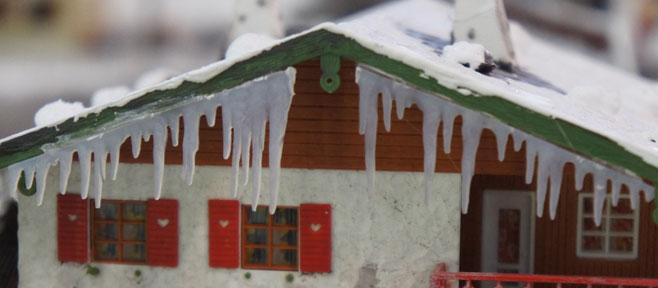 ijspegel winter modelspoorbaan
